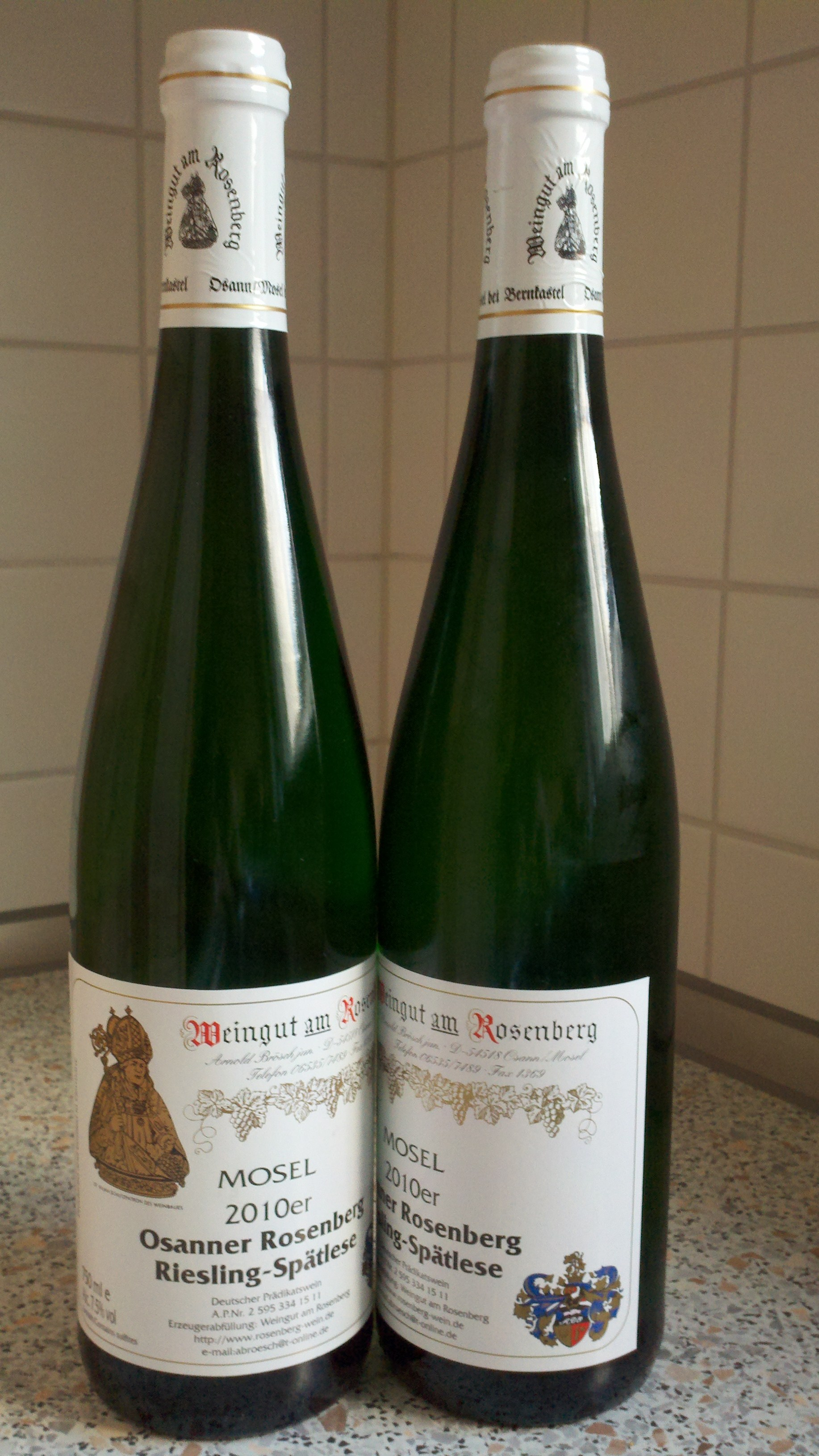 I don't think I need to post a German bottle of Coke again and I don't think Coke in a glass is very interesting, so instead, here is a picture from December 2011 of our first German wine purchase.