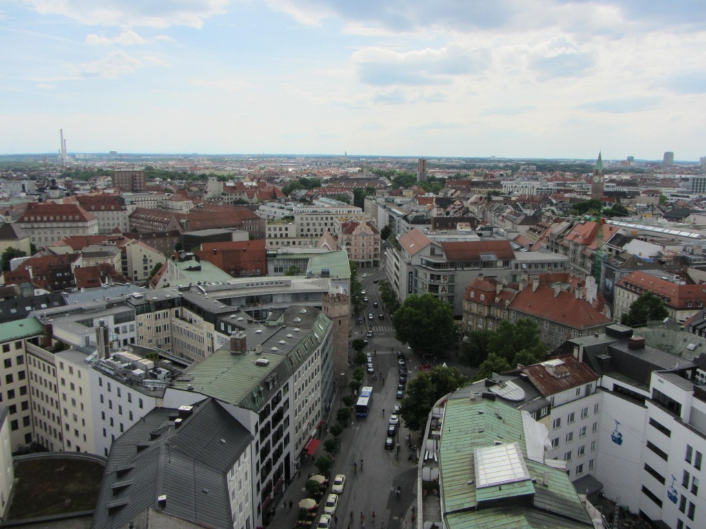 Part of Munich, viewed from the observation deck at St. Peter's Church.
