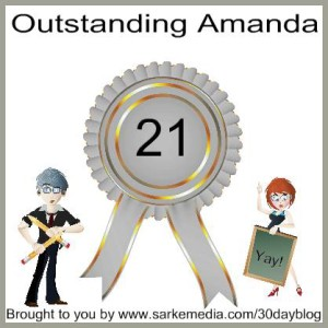 The badge that was posted in the Facebook group for my Day 21 post. I get a badge for every completed week.