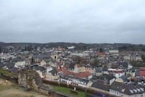 A view over Valkenburg from the castle ruins.